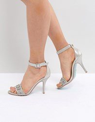 Blue By Betsey Johnson Betsy Silver Embellished Heeled Sandals