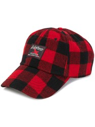 Polo Ralph Lauren Checked Print Hat Cotton Calf Leather Nylon Wool Black