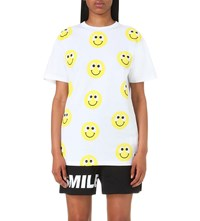 Mini Cream Smiley Print Cotton T Shirt White