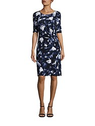 Lafayette 148 New York Brushstroke Twisted Front Dress Navy Multi