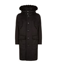 Burberry Fox And Shearling Trimmed Cashmere Parka Coat Male Black