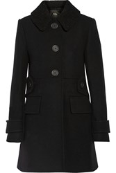 Maje Boucle Trimmed Wool And Cashmere Blend Coat