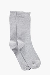 Boohoo Melange Scallop Edge Ankle Socks Grey Marl