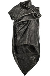 Rick Owens Draped Asymmetric Coated Cotton Jacket Black