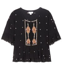 Velvet Alasdair Embroidered Cotton Top Black
