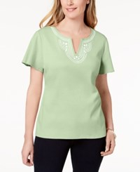 Karen Scott Cotton Embellished Top Created For Macy's Calm Aloe