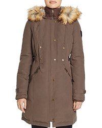 Vince Camuto Side Belted Faux Fur Trim Anorak Clay
