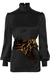 Hillier Bartley Printed Velvet Trimmed Silk Satin Turtleneck Top Black