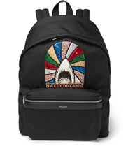 Saint Laurent City Appliqued Canvas Backpack Black