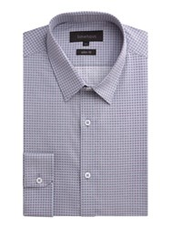 Limehaus Pattern Slim Fit Tile Print Formal Shirt Grey