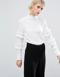 Zacro High Neck Blouse With Ruffles White
