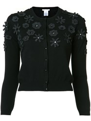 Oscar De La Renta Cut Out Flower Embroidered Cardigan Black