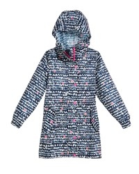 Joules Heart Print Hooded Pack Away Coat Size 3 10 Blue