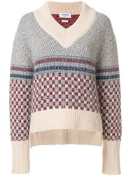 Thom Browne Crab Toy Icon Tweed V Neck Pullover Nude And Neutrals