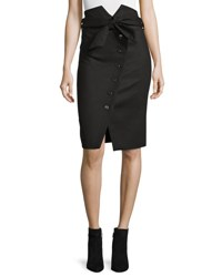 Iro Maddy Asymmetric Button Front Pencil Skirt Black