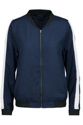 W118 By Walter Baker Jamie Color Block Crepe De Chine Bomber Jacket Midnight Blue