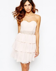 Elise Ryan Sweetheart Bandeau Frill Dress With Lace Trim Nude