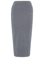 Whistles Ribbed Jersey Midi Tube Skirt Dark Grey
