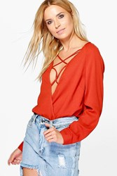Boohoo Lace Up Wrap Over Blouse Rust