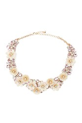 Forever 21 Floral Statement Necklace Cream Gold