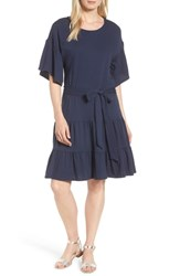 Bobeau Drop Waist Ruffle Cotton Dress Navy