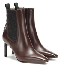 Brunello Cucinelli Leather And Cashmere Ankle Boots Brown
