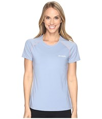 Columbia Trail Flash Short Sleeve Shirt Beacon Cherry Blossom Women's Short Sleeve Pullover Blue