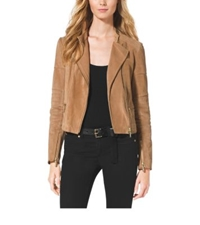 Michael Kors Leather Quilted Moto Jacket Suntan