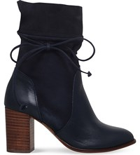 Kurt Geiger Demi Leather And Suede Heeled Ankle Boots Navy