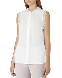 Reiss Jean Lace Trimmed Silk Top Off White
