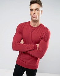 Asos Lightweight Muscle Sweatshirt In Red Rasb