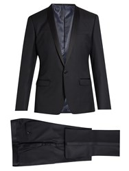 Dolce And Gabbana Shawl Lapel Wool Silk Blend Tuxedo Navy
