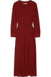 Etoile Isabel Marant Kamil Pintucked Voile Maxi Dress Claret