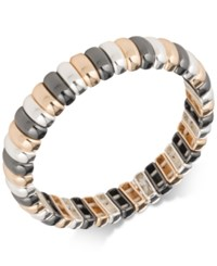 Nine West Tri Tone Bar Link Stretch Bracelet Multi