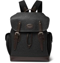 Mulberry Heritage Leather Trimmed Pebble Grain Coated Canvas Backpack Black