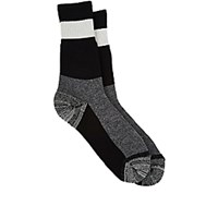 Yohji Yamamoto Pour Homme Men's Mixed Stripe French Terry Knit Mid Calf Socks Blue