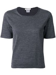 Le Tricot Perugia Round Neck T Shirt Virgin Wool S Grey