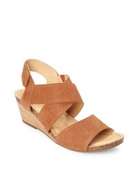 Me Too Toree Leather Stacked Wedge Heel Sandals Brown