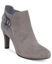 Bandolino Layita Zippered Booties Grey Suede