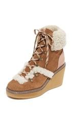 See By Chloe Eileen Platform Shearling Booties Stucco