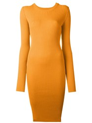Maison Martin Margiela Mm6 Maison Margiela Ribbed Knit Fitted Dress Yellow And Orange