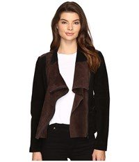 Blank Nyc Real Suede Color Blocking Jacket In Alternate Side Alternate Side Women's Coat Black