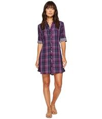 Mod O Doc Double Sided Plaid Tab Sleeve Shirtdress Aster Plaid Women's Dress Red