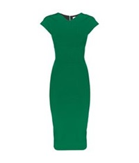 Victoria Beckham Heart Seam Fitted Pencil Dress Green
