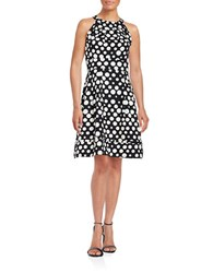 Eliza J Dotted Pleated Dress Black Ivory