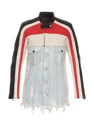 Alexander Wang Striped Leather And Distressed Denim Jacket Multi