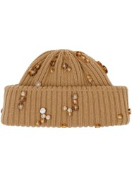 Burberry Embellished Rib Knit Wool Beanie Brown