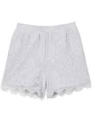 Burberry Lace Overlay Cotton Shorts Grey