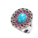 Abellan New York 18K White Solid Gold Turquoise 2.21 Cts Ruby 1.49 Cts Diamonds 0.54 Cts Multi