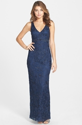 Sue Wong V Neck Embroidery And Bead Overlay Gown Navy